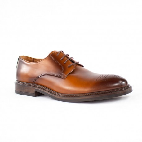 Zapato de cordón en cuero con suela italiana