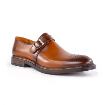 Zapato mocasín en cuero con suela italiana